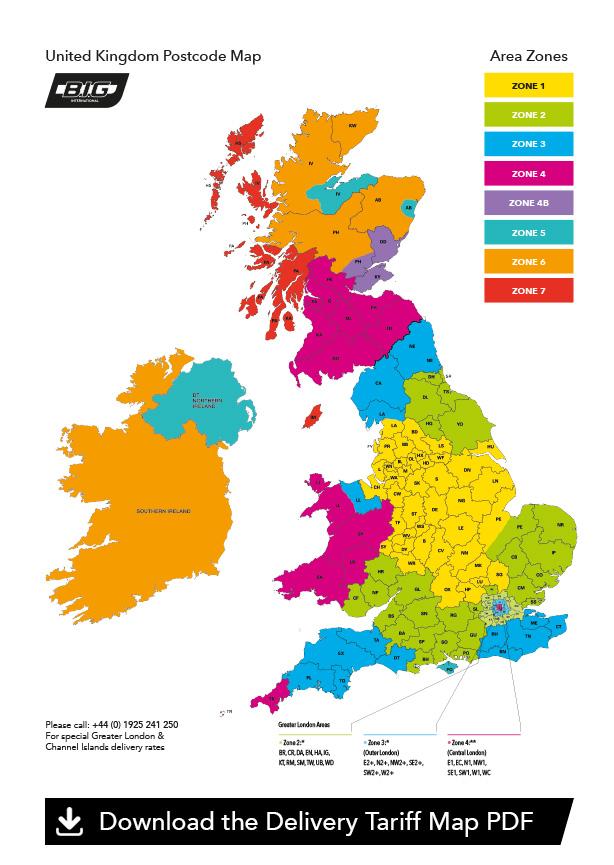 BIG international delivery tariff map zone side ADR hazardous non hazardous chemical transport uk haulage warrington