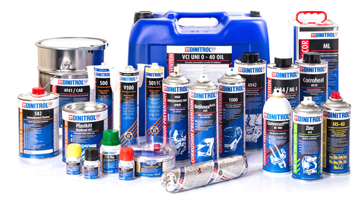 dinitrol product range converust plastkitt underbody corrosion protection rust treatments windscreen adhesives direct glazing cavity wax underbody chassis retail products